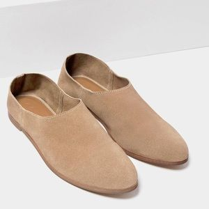 NWT Zara leather suede slide mule loafers